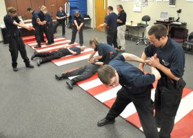 Hands-on scenario training is a central component of Law Enforcement Recruit Academy training. The next academy at Nicolet College will run from June 6 to Oct. 6.
